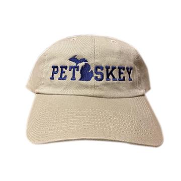 Petoskey Hat - Khaki Embroidered navy lower peninsula