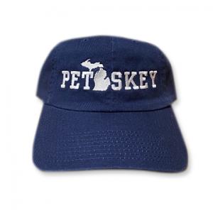 Petoskey Hat - Navy Embroidered Logo Michigan