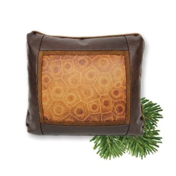Leather Petoskey Stone Printed Pillow Michigan Throw Pillow
