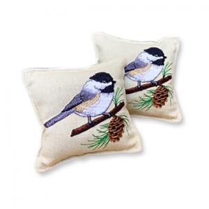 Balsam Fir Pillow - Chickadee on Branch