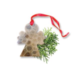 Angel Petoskey Stone Ornament