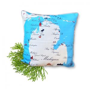Michigan Cities Graphic Pillow