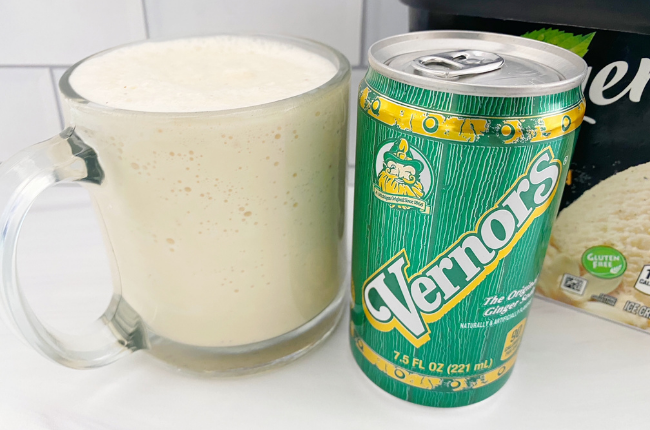 This Blended Boston Cooler is a sweet mix of the Michigan made pop, Vernors and vanilla ice cream. A sweet treat with that familiar Michigan taste.