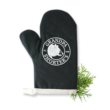 Grandpa Shorter's Oven Mitt Black Bear Logo Pots Pans