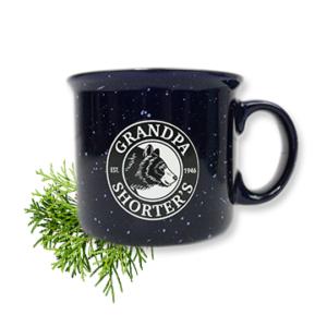 Grandpa Shorters Camper Camp Mug Coffee Tea Soup Bear Logo Blue