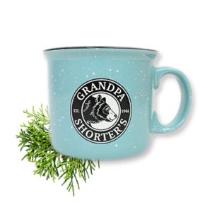 Grandpa Shorters Camper Camp Mug Coffee Tea Soup Bear Logo Teal