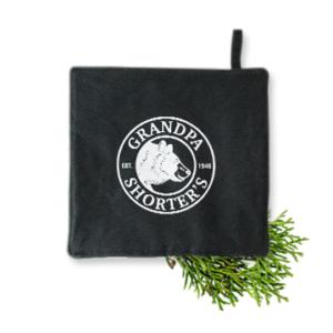 Grandpa Shorter's Black Hot Pad Trivet Pots Pans Oven Bear Logo