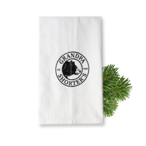 Grandpa Shorter's White Flour Sack Tea Towel Bear Logo