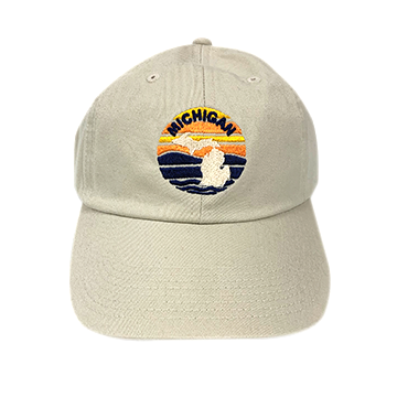 Embroidered Michigan Cap Tan Embroidered Hat