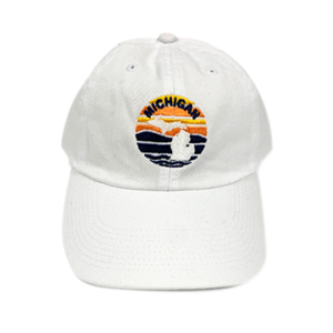 Embroidered Michigan Cap White Embroidered Hat