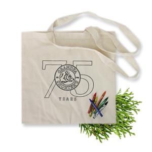 Grandpa Shorter's 75 Year Logo Reusable Tote Bag with Crayons