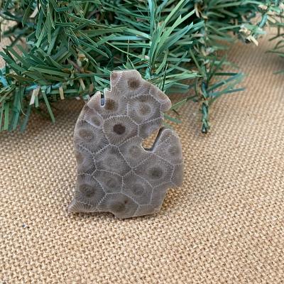 Lower Peninsula Petoskey Stone Magnet - D