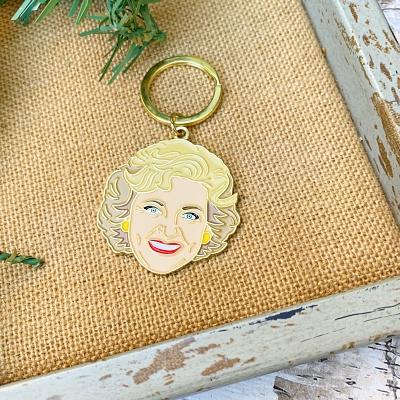 Betty White Enamel Keychain