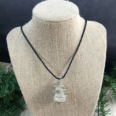 Petoskey Stone Silver Spiral Pendant Necklace A