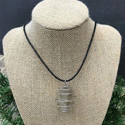 Petoskey Stone Silver Spiral Pendant Necklace H