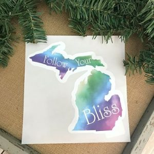 Follow Your Bliss Michigan Decal Sticker