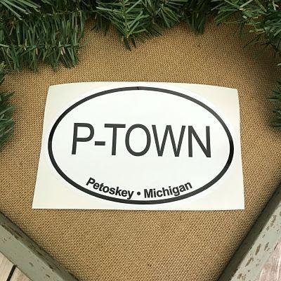 Petoskey Michigan P-Town Sticker