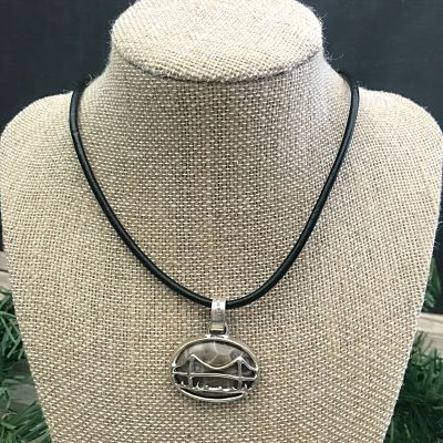Petoskey Stone Mackinac Bridge Pendant Necklace