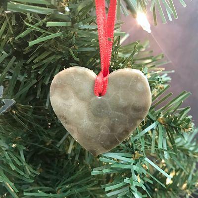Heart Petoskey Stone Ornament I