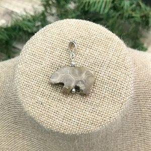 Petoskey Stone Bear Pendant A