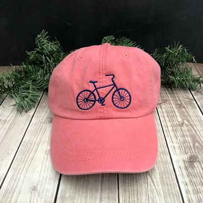 Bicycle Embroidered Ball Cap - Coral