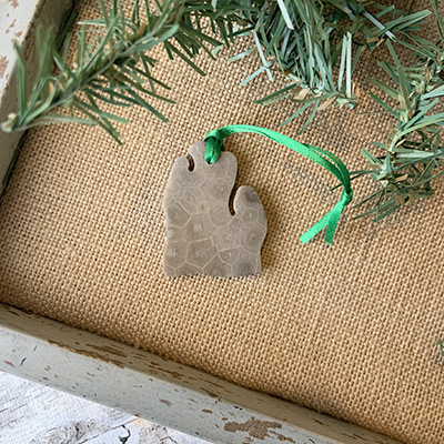 Lower Peninsula Petoskey Stone Ornament D