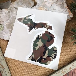 Green Camo Michigan Car Decal
