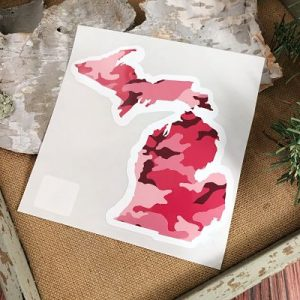 Pink Camo Michigan Car Decal
