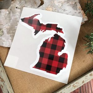 Red Plaid Michigan Auto Decals