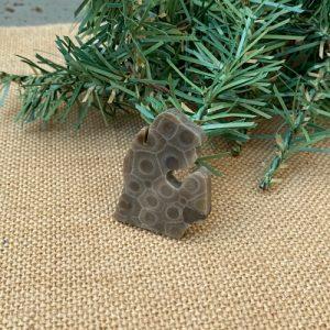 Small Lower Peninsula Petoskey Stone Magnet - B