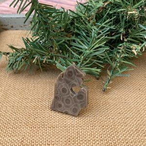 Small Lower Peninsula Petoskey Stone Magnet - O