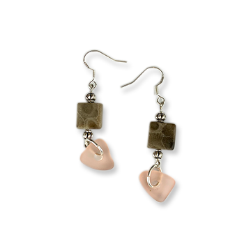 Beach Glass Petoskey Stone Earrings - A