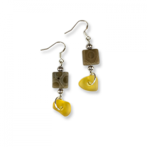 Beach Glass Petoskey Stone Earrings - C