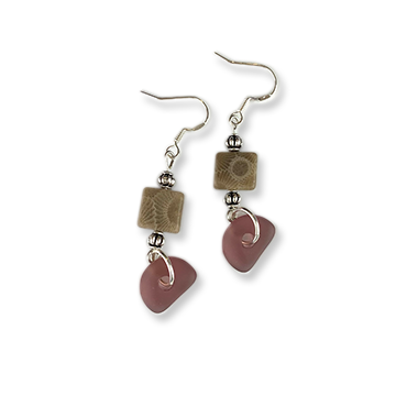 Beach Glass Petoskey Stone Earrings - D