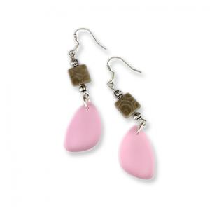 Beach Glass Petoskey Stone Earrings - N