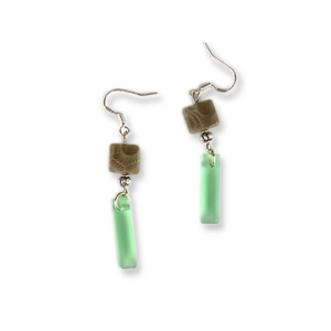 Beach Glass Petoskey Stone Earrings - P