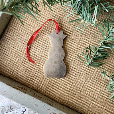 Snowman Petoskey Stone Ornament A