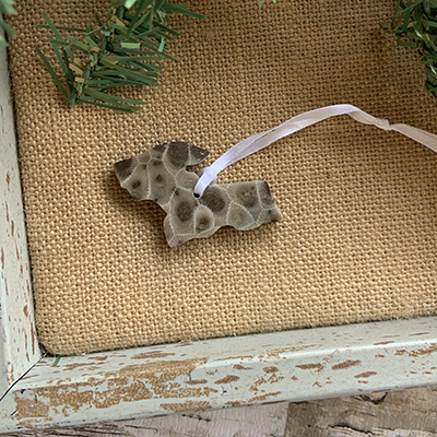 Upper Peninsula Petoskey Stone Ornament B