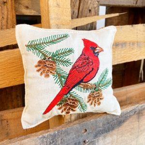 Balsam Fir Pillow - Cardinal on Branch