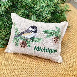 Balsam Fir Pillow - Chickadee