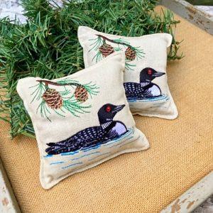 Balsam Fir Pillow - Loon in Pond