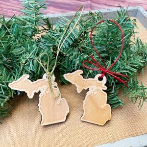 Wooden Michigan Ornaments