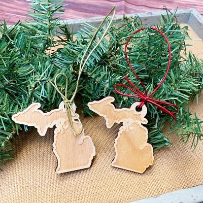 Wooden Michigan Ornaments